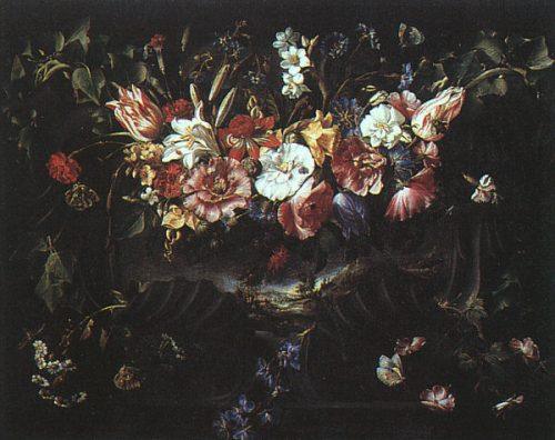 Arellano,_Juan_de_~_Garland_of_Flowers_with_Landscape,_1652,_oil_on_canvas,_Museo_del_Prado_at_Madrid