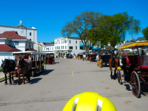 Mackinac Island lined with horses and carriages