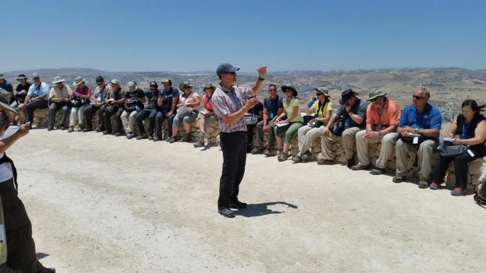 Brad teaching at the Herodium by Dave Pascoe.