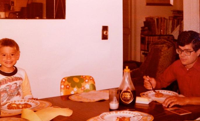 Aaron and Alan eat pancakes