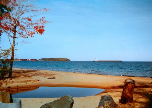 Freighter into Marquette Harbor