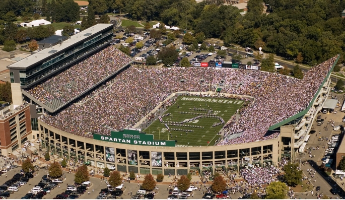 Aerial view of the MSU Marching Band.
