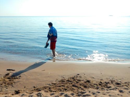 Strolling on beach