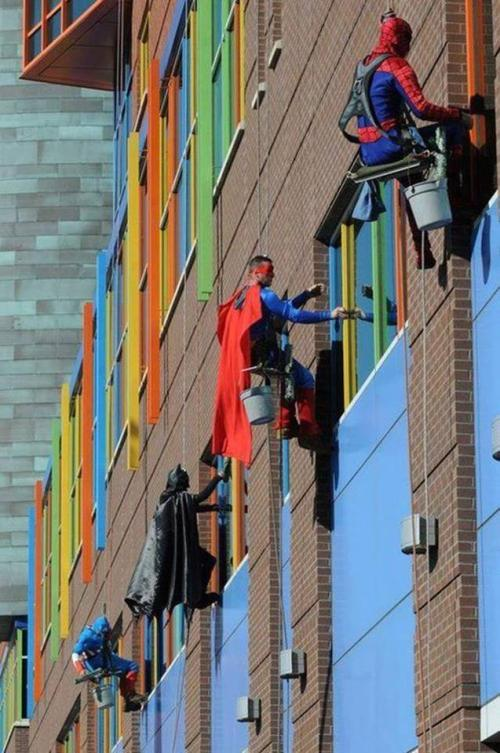 Window washers at Children's Hospital USA