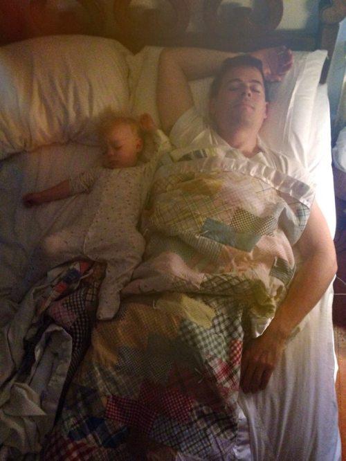 Aaron and Giles asleep