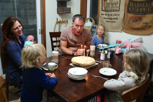 Blowing out the birthday candles