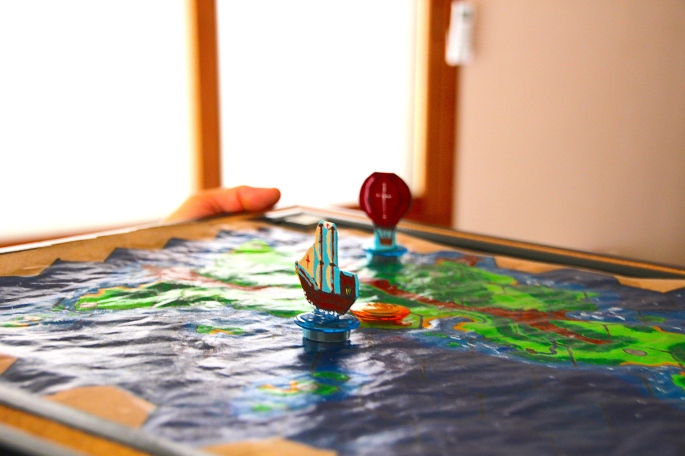 Board with Game Pieces