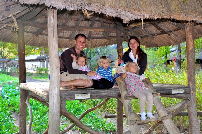 Family in pagoda