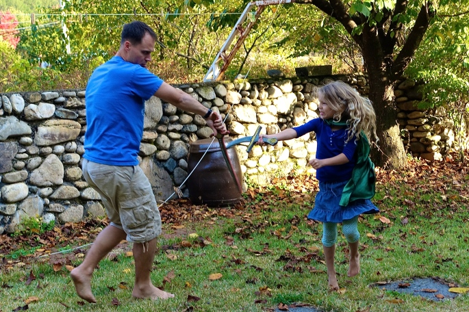 Father and Daughter Swordfight