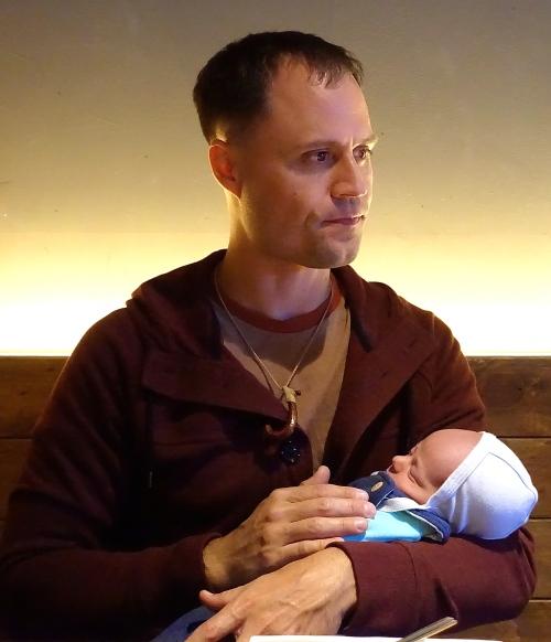 Michael holding Paladin