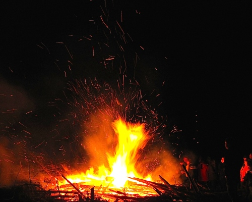 People around a Bonfire