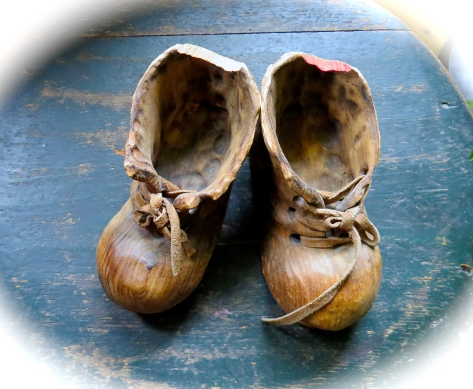 Wooden baby shoes