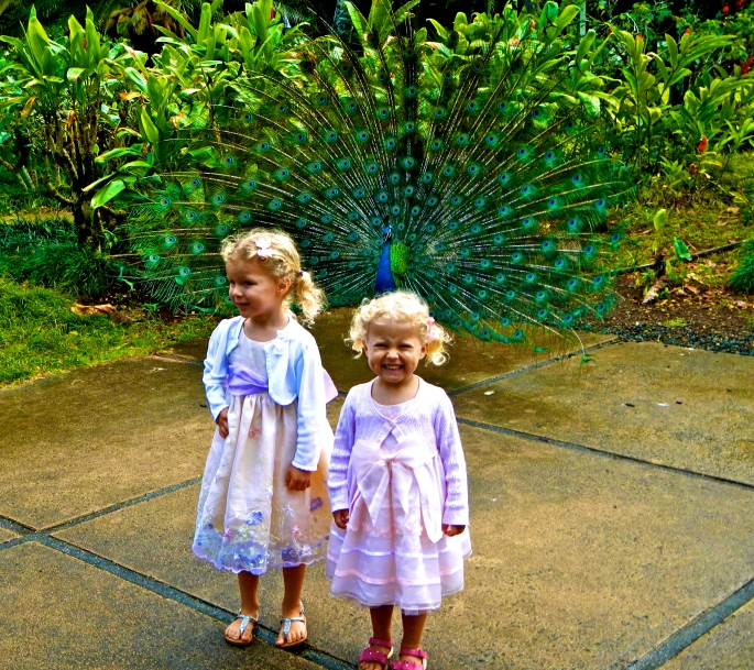 Girls with peacock