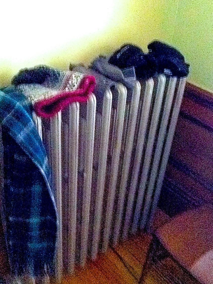 Drying mittens on radiator