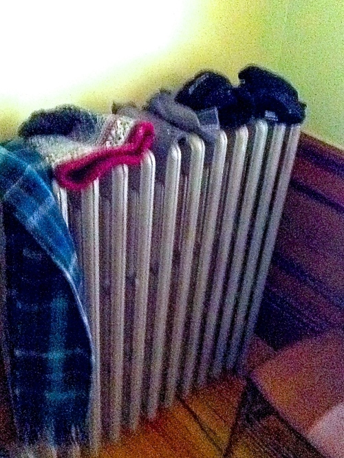 Drying mittens on radiator