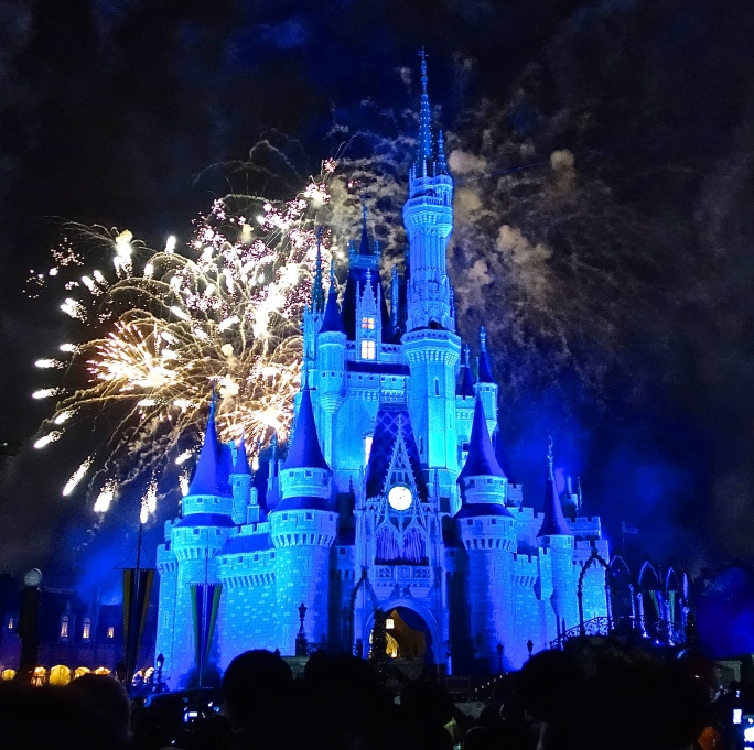 Fireworks in blue at Disney