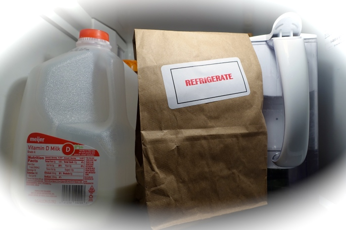 Lunch sack in refrigerator