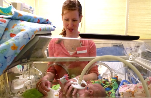 Mother caring for preemie