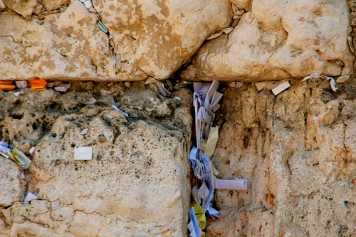Prayers stuffed in Western Wall