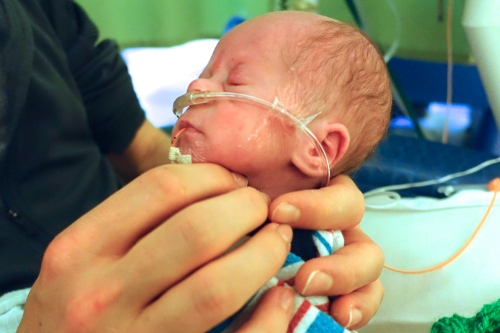 Preemie with Dad