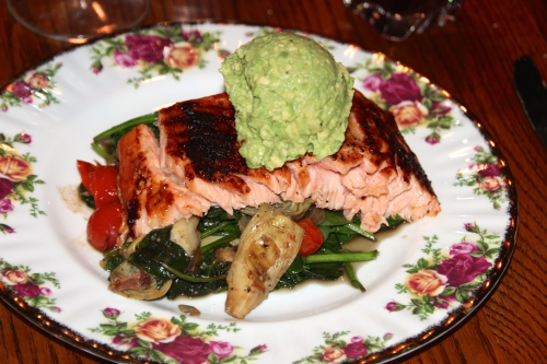 Salmon with Spinach and Artichokes