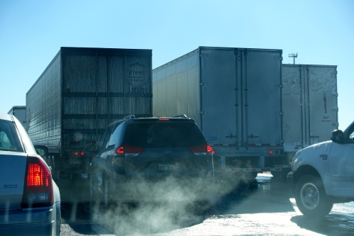 Cars stopped on I-294 after 2.2.15 Crash
