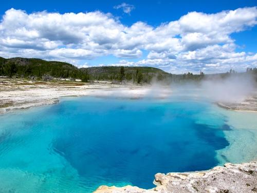 Deep blue pool at Yellowstone
