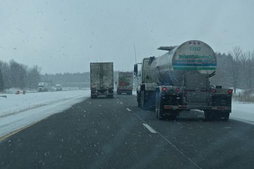Snowing on I-94