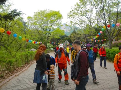 Colorful hikers at Bukhansan National Park