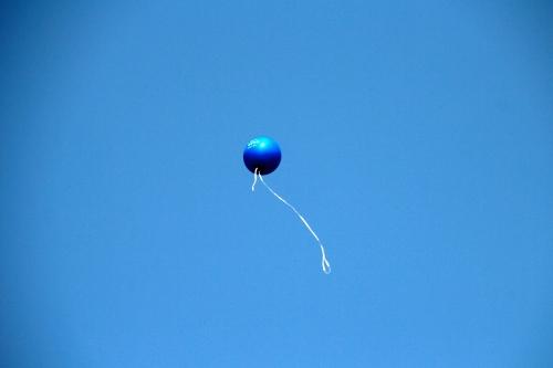 Helium balloon sailing skyward