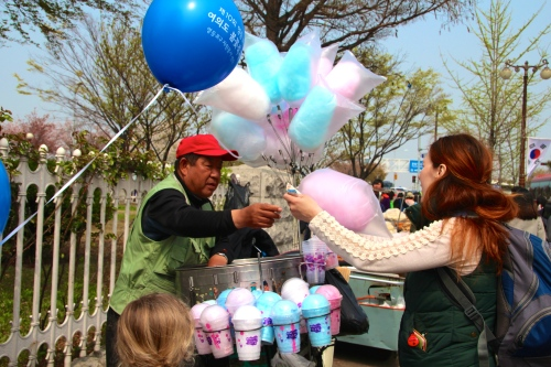 Street Vendors at South Korea's Cherry Blossom Festival