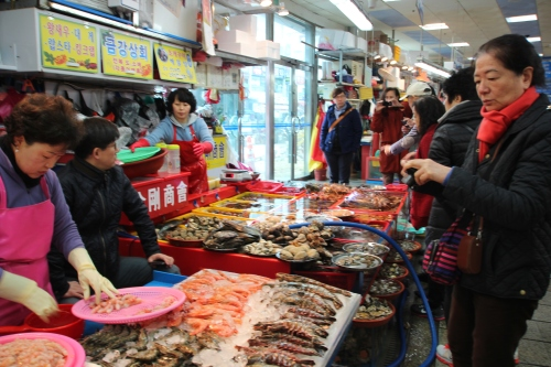 Choosing Seafood at Jagalchi Market