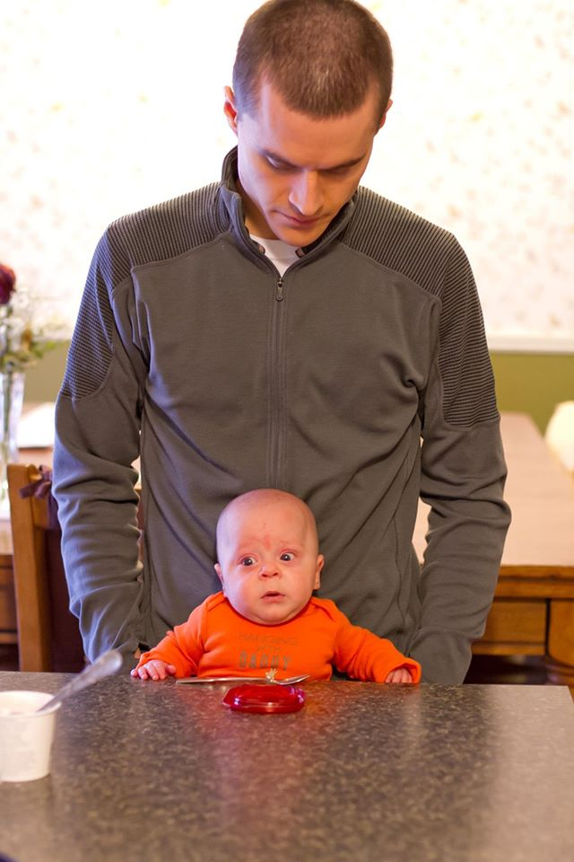 Father with 2-month old son