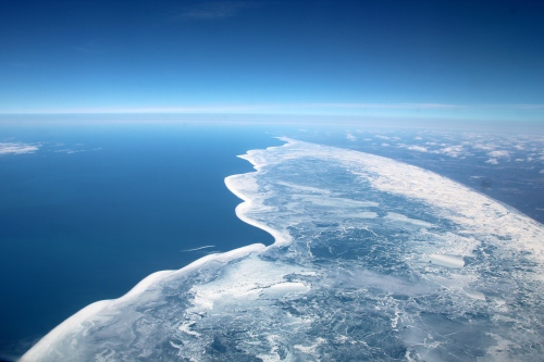 Ice receding on eastern shore of Lake Michigan