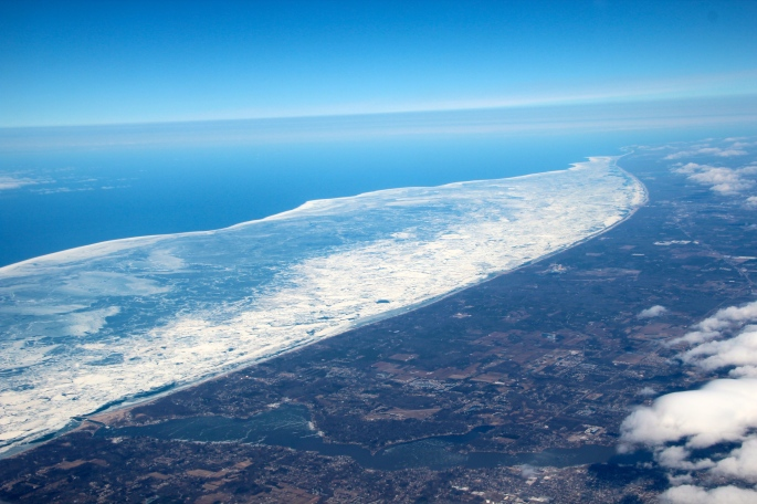 Lake Michigan shoreline from air