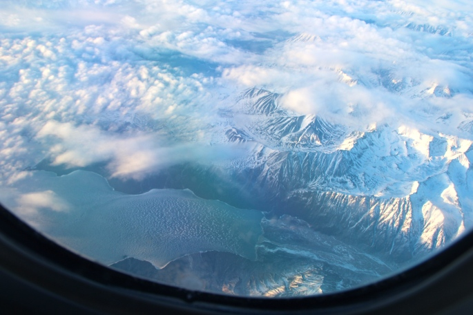 View out window of airplane