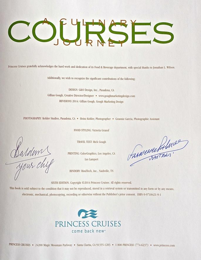 Cookbook. Sapphire Princess Courses. A Cullinary JourneyJPG