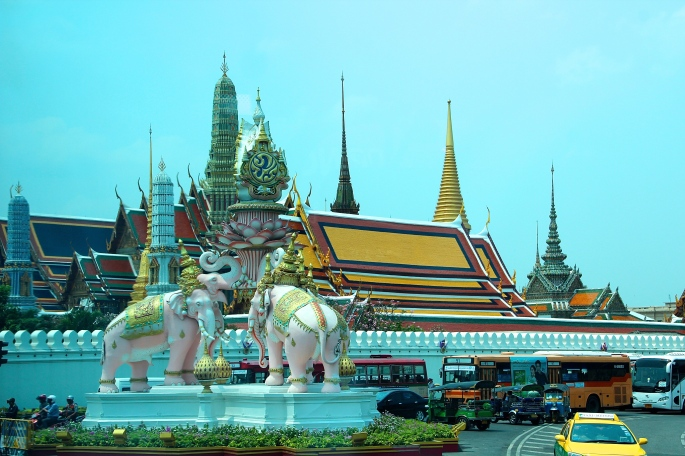 Elephants guarding entrance to Grand Palace in Bangkok