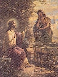 Jesus with woman at well