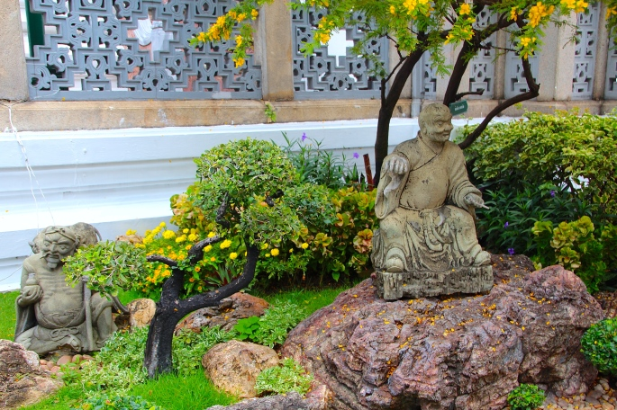 Stone Buddha in Garden Grand Palace. Bangkok