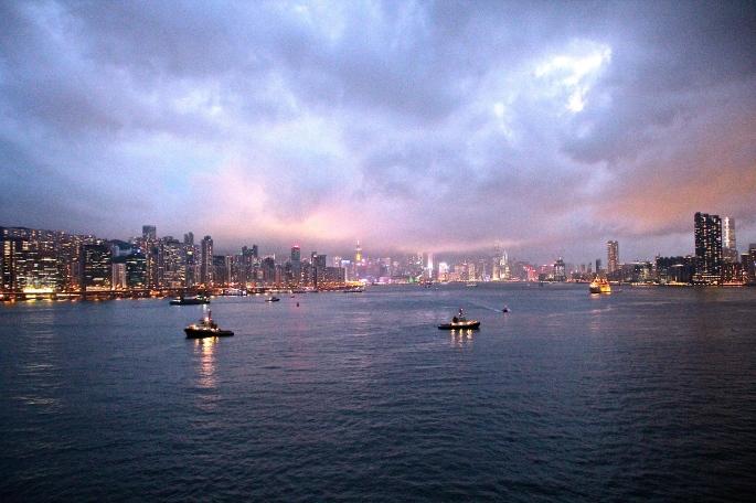 Sunset Leaving Hong Kong Harbor Sapphire Princess