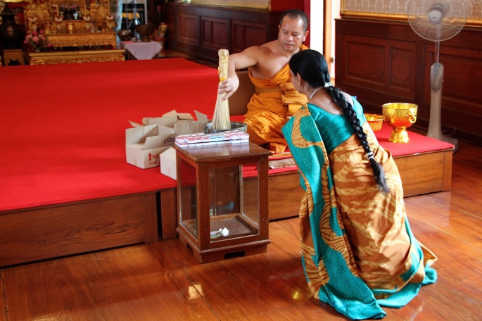 Worshiping in Buddhist Temple