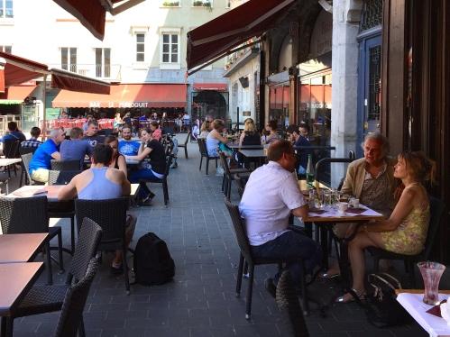 Cafe scene in France