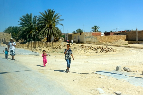Children along road in Tunisia