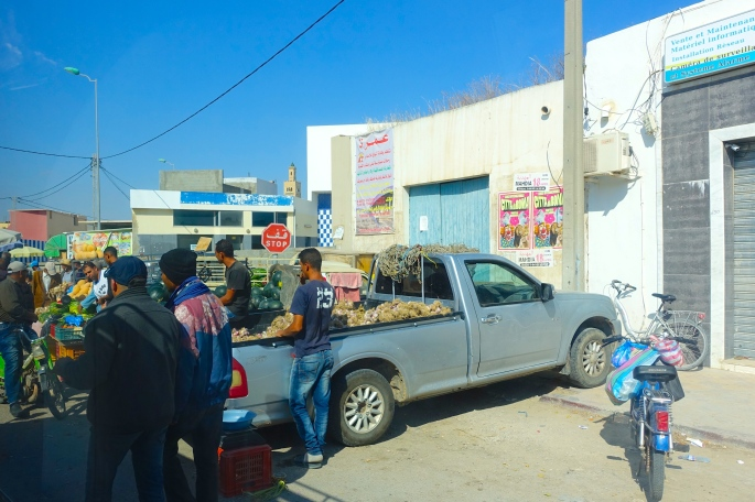 Food for sale in back of truck. Tunisia
