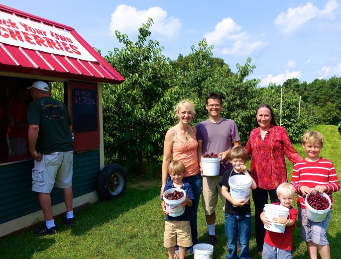 Picking Cherries at Robinette's Orchard, GR, MI