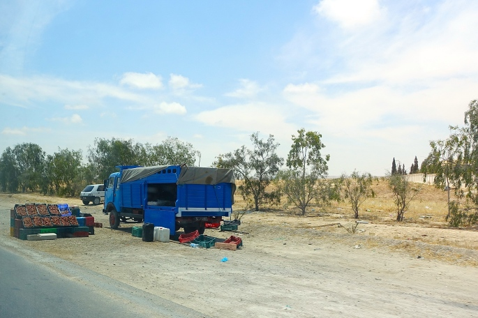 Truck Selling Dates by side of road in Tunisia