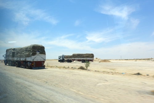 Trucks on Highway in Tunisia