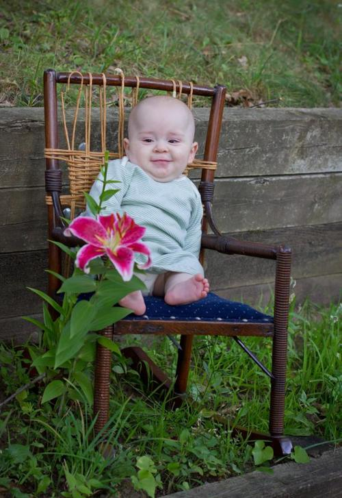Baby with Star-gazer lily