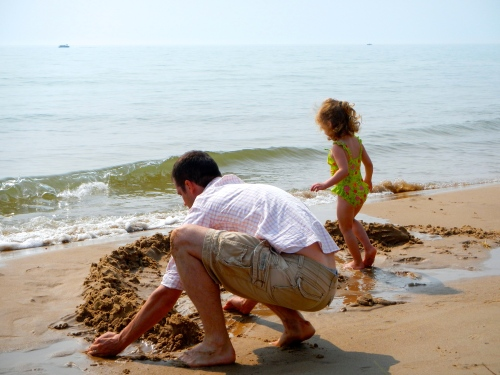Building sandcastles along Lake Michigan Shoreline